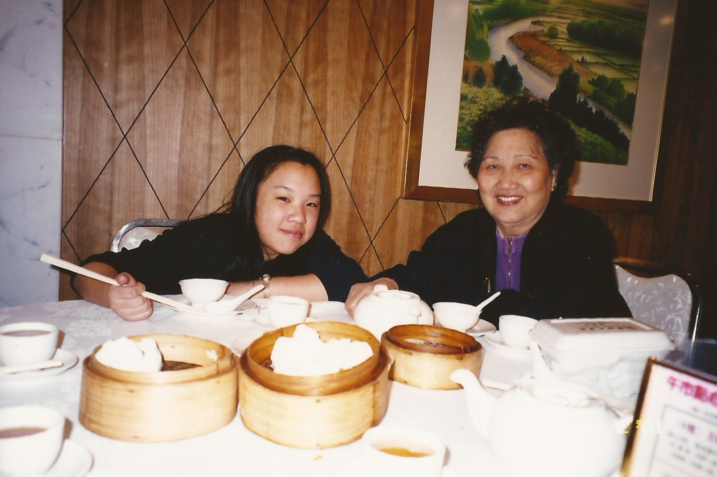 Me and my grandma in Hong Kong eating dim sum